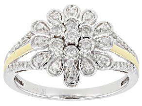 Pre-Owned White Diamond Rhodium And 14k Yellow Gold Over Sterling Silver Ring 0.20ctw
