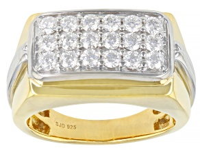 Pre-Owned Moissanite 14k yellow gold over platineve and platineve two tone mens ring 1.08ctw DEW.