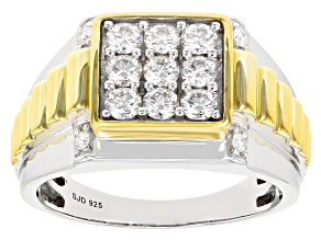 Pre-Owned Moissanite platineve and 14k yellow gold over platineve two tone mens ring .98ctw DEW.
