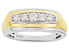 Pre-Owned Moissanite platineve and 14k yellow gold over platineve two tone mens ring .48ctw DEW.