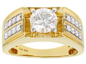Pre-Owned Moissanite 14k Yellow Gold Over Silver Mens Ring 2.38ctw DEW.