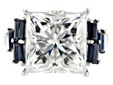Pre-Owned Moissanite And Blue Sapphire Ring 9.21ctw DEW