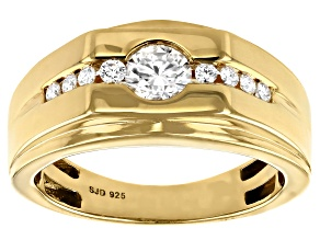 Pre-Owned Moissanite 14k yellow gold over sterling silver mens ring .66ctw DEW.