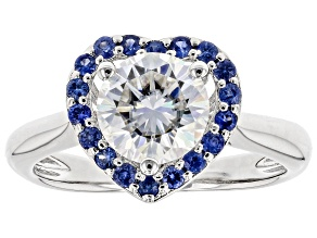 Pre-Owned Moissanite And Blue Sapphire Platineve Ring 1.50ct DEW.