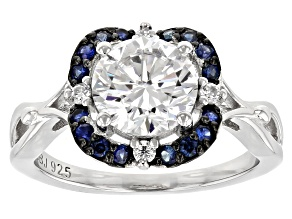 Pre-Owned Moissanite And Blue Sapphire Platineve Ring 1.98ctw DEW.