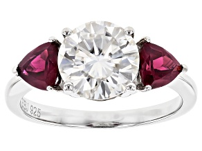 Pre-Owned Moissanite And Rhodolite Platineve® Ring 2.20ctw DEW