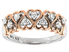 Pre-Owned Moissanite Platineve And 14k Rose Gold Two-Tone Ring .27ctw DEW.