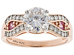 Pre-Owned Moissanite And Pink Sapphire 14k Rose Gold Over Silver Ring 1.70ctw DEW.