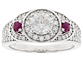 Pre-Owned Moissanite with Mozambique Ruby Platineve ring 1.62ctw DEW.