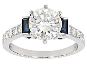 Pre-Owned Moissanite And Blue Sapphire 14k White Gold Ring   2.18ctw DEW.