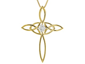 Pre-Owned Moissanite 14K Yellow Gold Over Silver Cross Pendant .50ct DEW