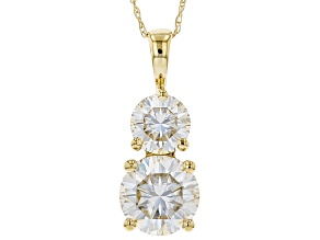 Pre-Owned Moissanite Fire® 2.70ctw Diamond Equivalent Weight Round 14k Yellow Gold Pendant With Chai
