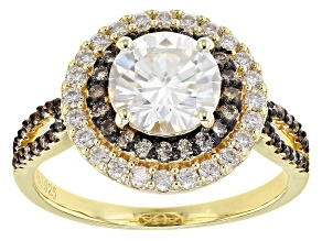 Pre-Owned Moissanite And Champagne Diamond 14k Yellow Gold Over Sterling Silver Ring 2.14ctw DEW.