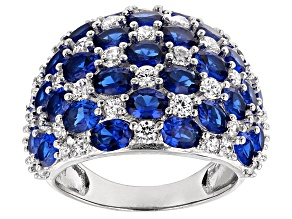 Pre-Owned Lab Blue Spinel And White Cubic Zirconia Rhodium Over Sterling Silver Ring 11.66ctw