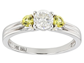 Pre-Owned Moissanite and Yellow Sapphire 14k White Gold Ring .50ctw DEW.