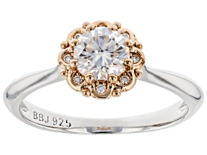 Pre-Owned Moissanite Platineve and 14k rose gold accent ring .68ctw DEW.