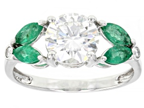 Pre-Owned Moissanite And Zambian Emerald 14k White Gold Ring 1.54ctw DEW.