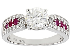 Pre-Owned Moissanite with Mozambique Ruby Platineve ring 1.46ctw DEW.