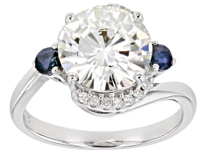 Pre-Owned Moissanite And Blue Sapphire Platineve Ring 3.74ctw DEW.