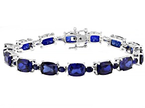 Pre-Owned Blue Lab Created Sapphire Rhodium Over Silver Bracelet 50.76ctw