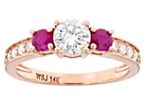 Pre-Owned Moissanite And Burma Ruby 14k Rose Gold Ring .84ctw DEW.