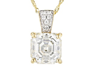 Pre-Owned Moissanite Pendant 14k Yellow Gold 3.98ctw DEW.