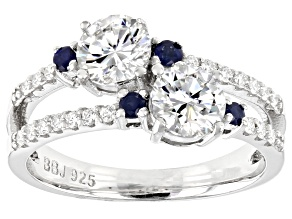 Pre-Owned Moissanite And Blue Sapphire Platineve Ring 1.40ctw DEW.