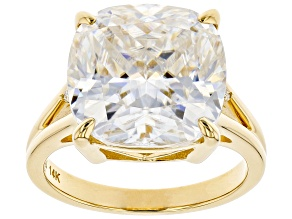 Pre-Owned Moissanite 14k Yellow Gold Ring 10.42ctw DEW.