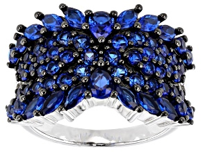 Pre-Owned Lab created blue spinel rhodium over silver ring 2.32ctw
