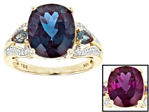 Pre-Owned Blue Lab Created Alexandrite 10k Yellow Gold Ring 5.87ctw