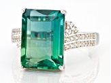Pre-Owned Teal Fluorite Rhodium Over Sterling Silver Ring 8.48ctw