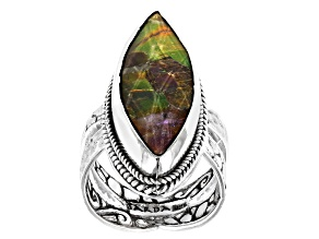 Pre-Owned Ammolite Doublet Silver Ring