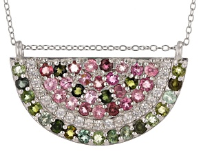 Pre-Owned  Multi-Tourmaline Rhodium Over Sterling Silver Watermelon Necklace 2.85ctw