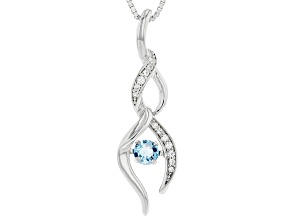 Pre-Owned  Swiss Blue Topaz Rhodium Over Silver Pendant 0.33ctw