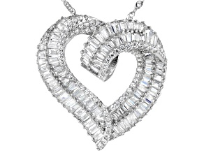 Pre-Owned White Cubic Zirconia Rhodium Over Sterling Silver Heart Pendant With Chain 5.48ctw