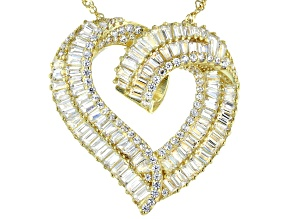 Pre-Owned White Cubic Zirconia 18K Yellow Gold Over Sterling Silver Heart Pendant With Chain 5.48ctw