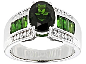 Pre-Owned Green Chrome Diopside Rhodium Over Silver Ring 2.40ctw