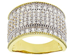 Pre-Owned White Cubic Zirconia 18K Yellow Gold Over Sterling Silver Ring 3.36ctw