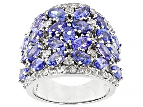Pre-Owned Tanzanite Rhodium Over Sterling Silver Ring 5.75ctw