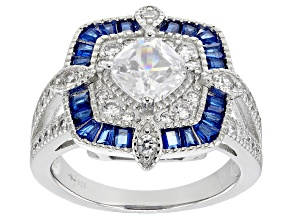 Pre-Owned Lab Created Blue Spinel And White Cubic Zirconia Rhodium Over Sterling Silver Ring 3.52ctw