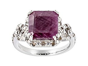 Pre-Owned Red Indian Ruby Rhodium Over Silver Ring 6.21ctw