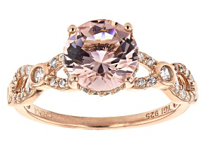 Pre-Owned Pink Morganite Simulant And White Cubic Zirconia 18K Rose Gold Over Sterling Silver Ring 4