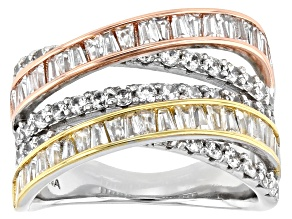 Pre-Owned White Cubic Zirconia Rhodium And 14K Yellow And Rose Gold Over Sterling Silver Ring 3.60ct