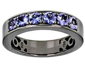 Pre-Owned Blue Tanzanite Black Rhodium Over Silver Mens Band Ring 1.53ctw