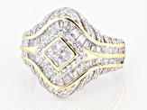 Pre-Owned White Cubic Zirconia Rhodium Over And 14k Yellow Gold Over Sterling Silver Ring 2.50ctw