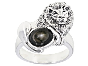 Pre-Owned Black star sapphire rhodium over silver solitaire lion gents ring 2.38ct