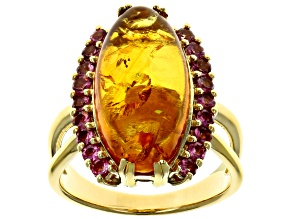 Pre-Owned Orange amber 18k gold over sterling silver ring .61ctw