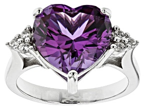 Pre-Owned Purple Color Change Lab Created Sapphire Rhodium Over Silver Ring 9.23ctw