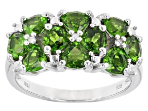 Pre-Owned Green chrome diopside rhodium over sterling silver ring 2.32ctw