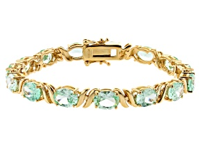 Pre-Owned Green Lab Created Spinel 18k Yellow Gold Over Silver Bracelet 17.68ctw